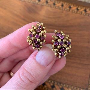 Vintage tested 14k gold earrings genuine rubies